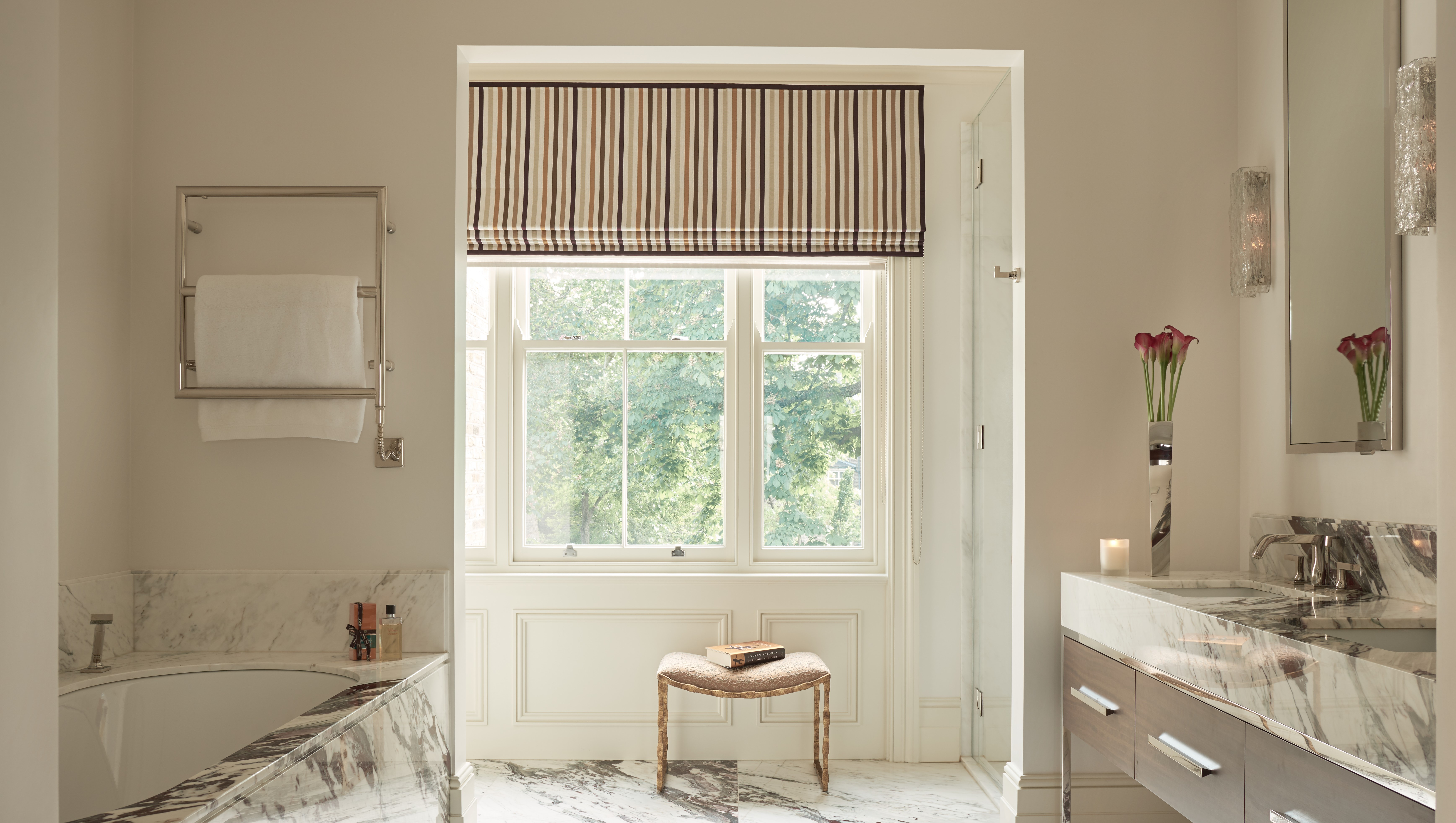 Secure sash windows furniture in bathroom