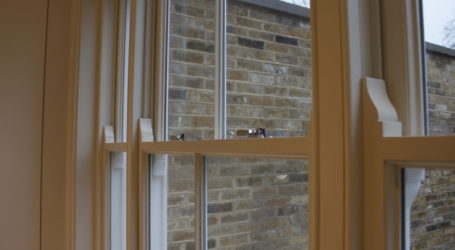 Sash Windows closed with fasteners