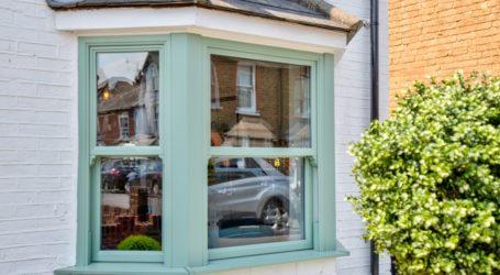 Green upvc sash window