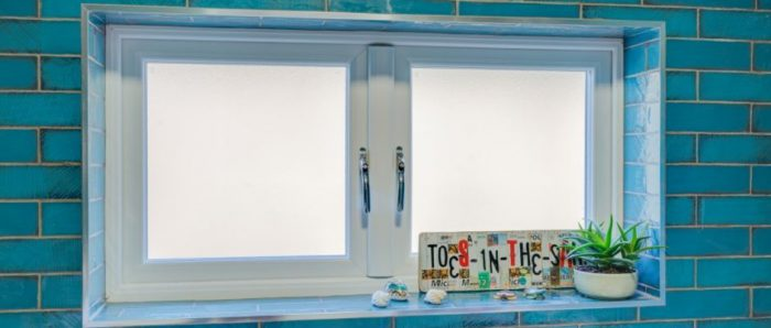 Obscured, frosted glass bathroom windows