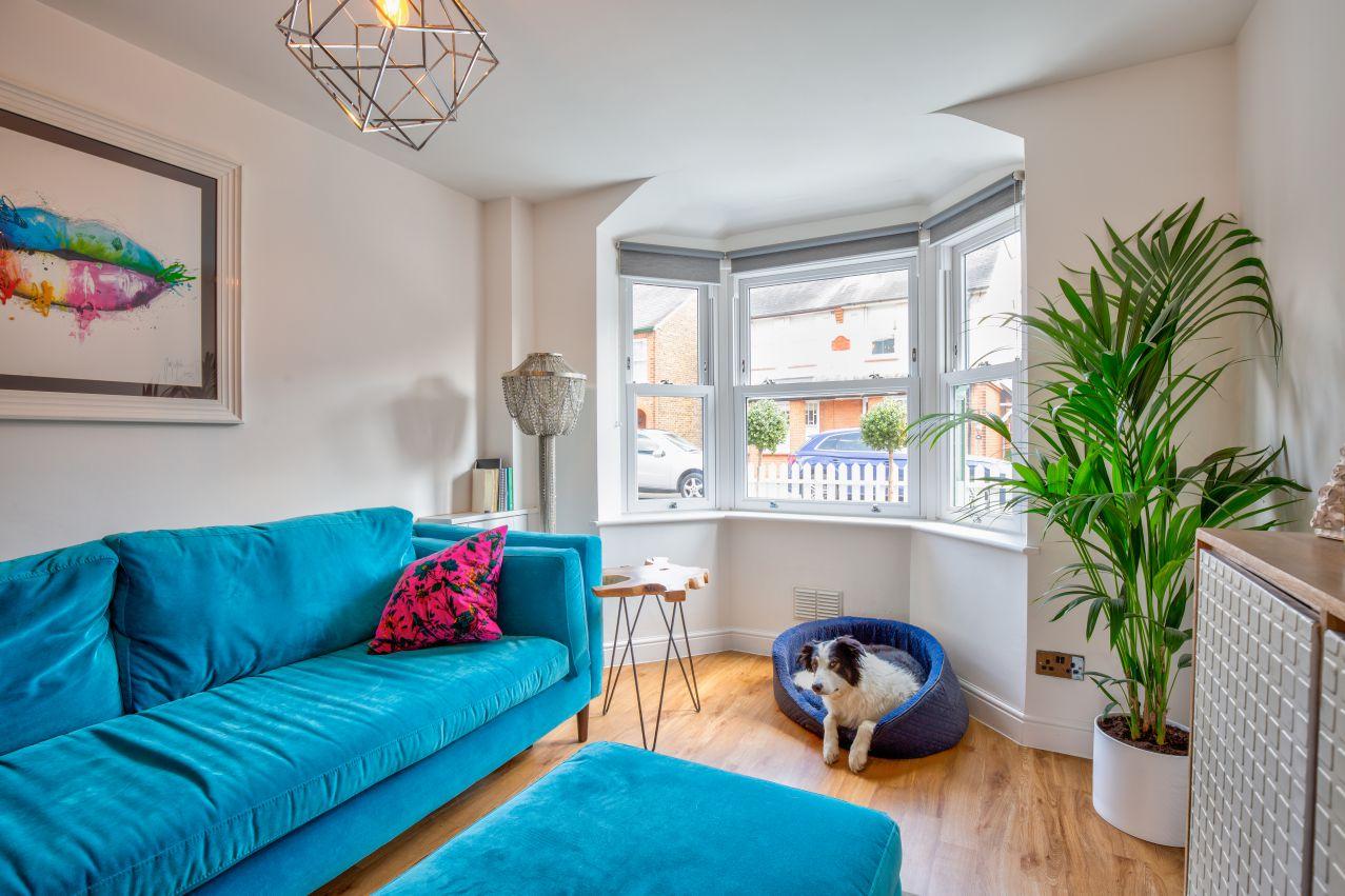 upvc sash window bay viewed from inside a living room