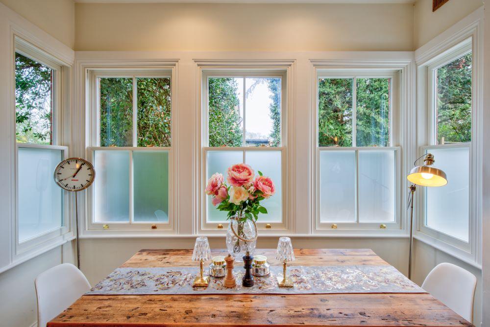 uPVC Sliding Sash Window with frosted bottom panes