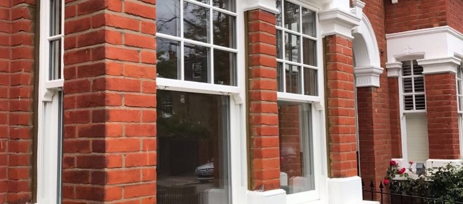Modern sash windows on a town house